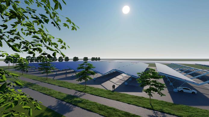 Impressies van het nog te bouwen zonnepark op het overloopparkeerterrein aan het Veluwemeer in Harderwijk, aan de noordkant van de N302.