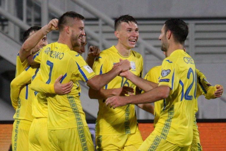 Oekraïne juicht na een goal van Yarmolenko.