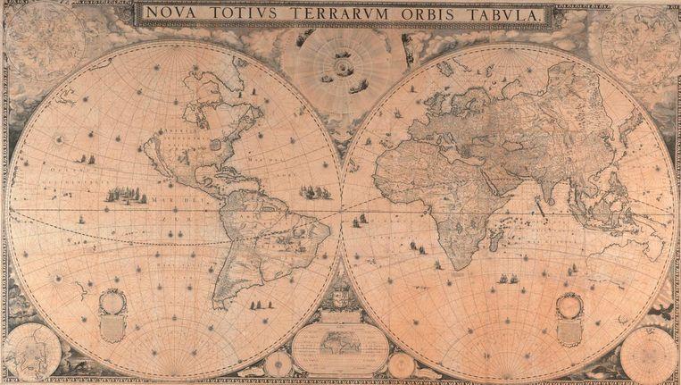 De kaart, meer dan twee bij drie meter groot, was destijds de eerste moderne kaart omdat Australië (deels) staat afgebeeld Beeld -