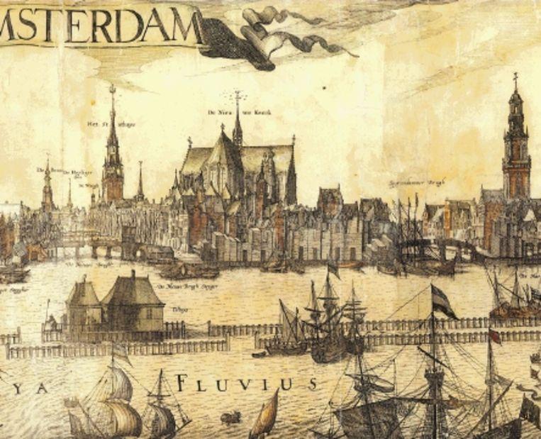 Stadsprofiel van Amsterdam van Pieter van der Keere, 1614-1618. (ILLUSTRATIE UIT BESPROKEN BOEK) Beeld