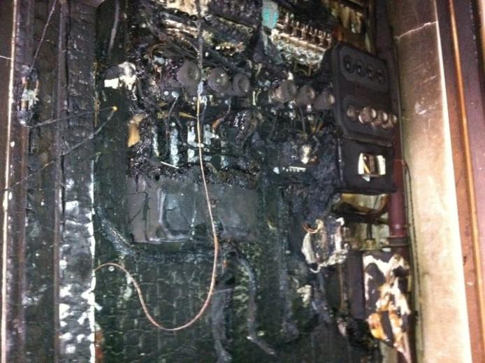 Uitgebrande meterkast. Archieffoto: DG
