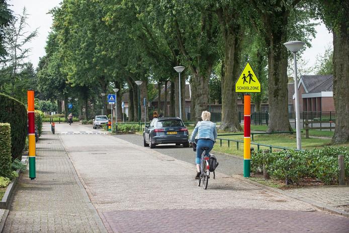De gekleurde palen rondom De Toermalijn in Heesch moeten het verkeer in de schoolzone afremmen.