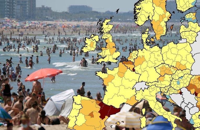 Vlaanderen kleurt donkeroranje op de kaart van Europa.