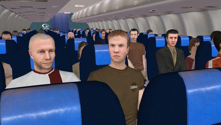 Als de proefpersoon even om zich heen kijkt, ziet hij medepassagiers in het vliegtuig. Beeld