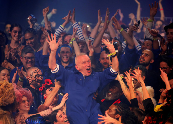 FILE PHOTO: Designer Jean Paul Gaultier reacts at the end of his Haute Couture Spring/Summer 2020 collection show in Paris, France, January 22, 2020. REUTERS/Charles Platiau/File Photo
