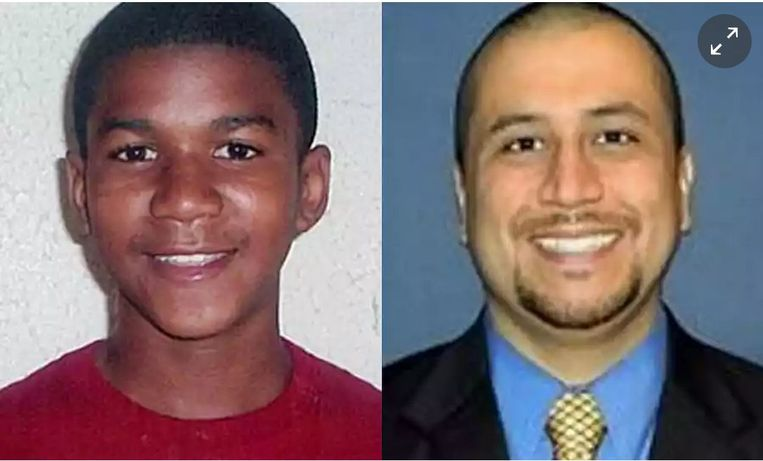 Trayvon Martin (links) en George Zimmerman.