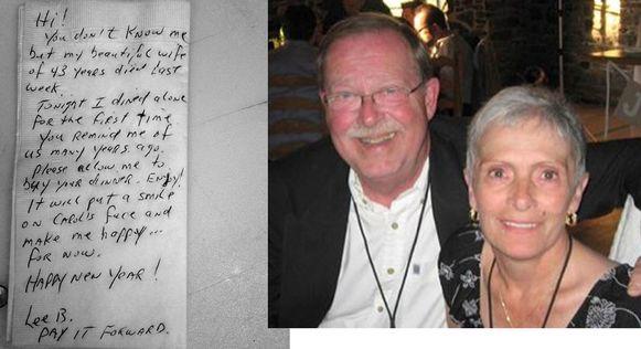 Links het briefje dat weduwnaar Lee Ballantyne in het restaurant achterliet, recht Lee en zijn vorige week overleden vrouw Carol.