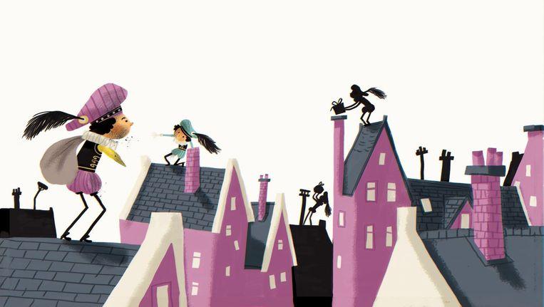 Als kroon op de Amsterdamse metamorfose van Zwarte Piet verscheen deze week een Gouden Boekje, Het verhaal van Sinterklaas, geschreven door Sjoerd Kuyper en getekend door Emanuel Wiemans. Beeld Emanuel Wiemans