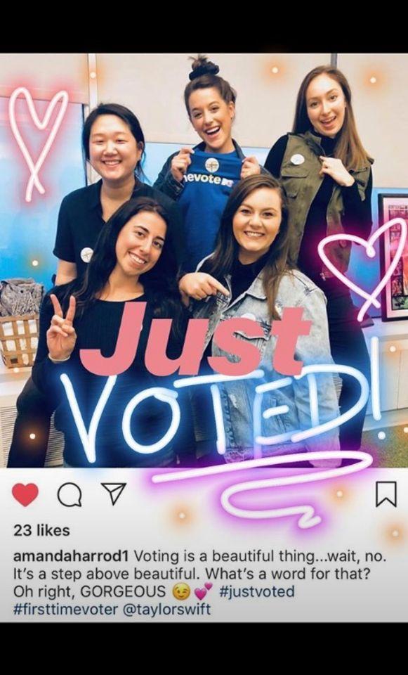 Swift deelde foto's van jonge stemmers die dankzij haar naar het stembureau trokken.