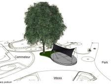 Podium met verwijderbare kap in Dongens park Vredeoord