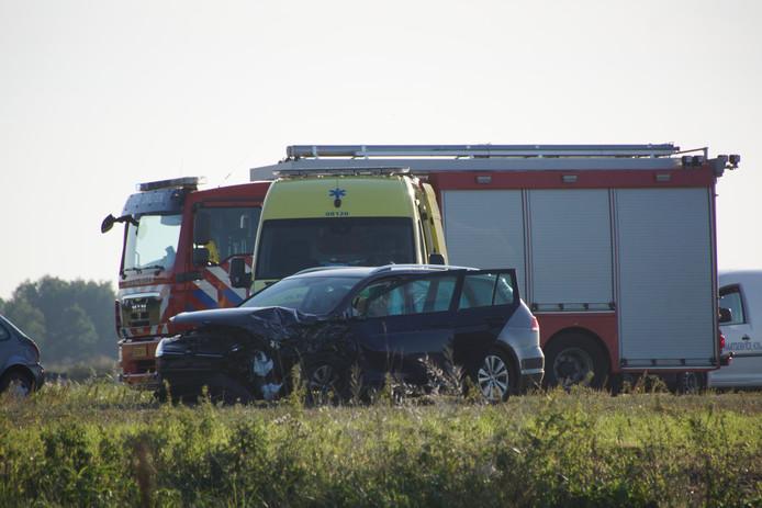 Een van de drie betrokken auto's.