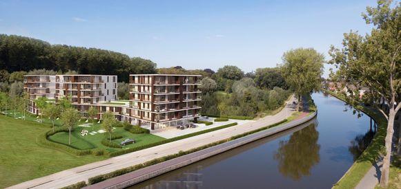 Een simulatiebeeld van Green Front vlak bij het bos en langs het kanaal Gent-Oostende.