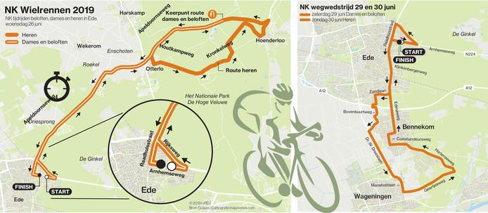 De parcoursen van de Nederlandse kampioenschappen wielrennen in Ede.