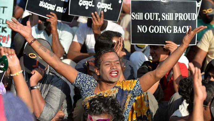 Protest tegen het verbod op homoseks in India, 2011.