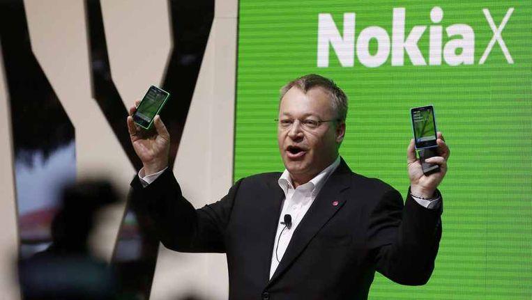 Stephen Elop presenteert de nieuwe Nokia X. Beeld reuters