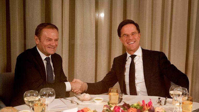 Donald Tusk en Mark Rutte. Beeld anp
