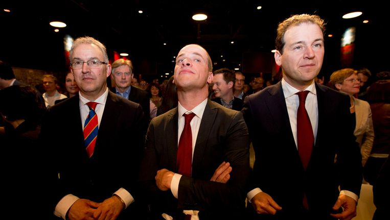 Ahmed Aboutaleb, Diederik Samsom en Lodewijk Asscher tijdens het jaarlijkse partijcongres van de PvdA, februari 2016. Beeld anp