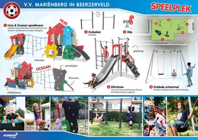 Samen met speeltoestellenfabrikant Kompan heeft VV Mariënberg een speeltuin ontworpen met vijf toestellen.