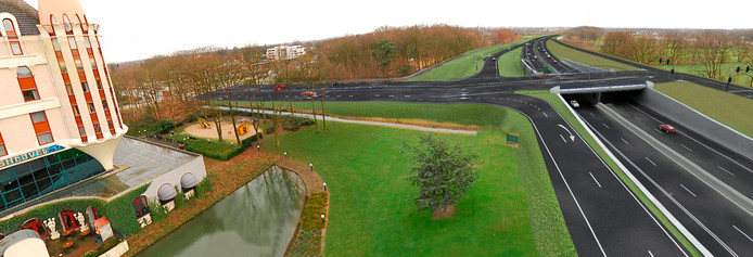De beoogde hotelzone aan de Horst in Kaatsheuvel ligt tegenover het Efteling Hotel, aan de overkant van de Europalaan.