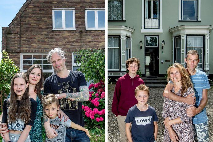 Links: Lola, Iris, Jeroen en Pijke wonen in Velp, maar tijdelijk in Amsterdam-Noord. Rechts: Sten, Moshe, Dieuwertje en Flint wonen in Amsterdam-Noord, en nu dus een weekje in Velp.