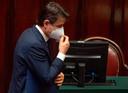 De Italiaanse premier Conte op archiefbeeld in het parlement.