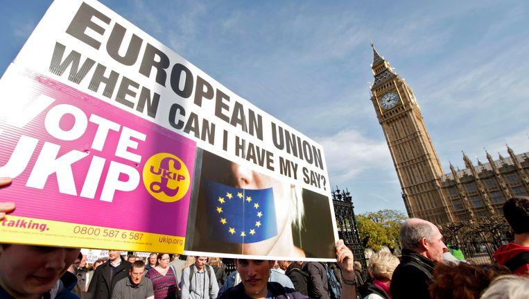 Britse demonstranten in Londen eisen meer inspraak wat betreft de EU. Beeld EPA