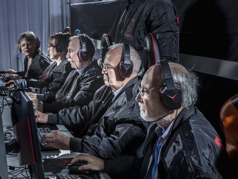 Het originele team tijdens hun training.