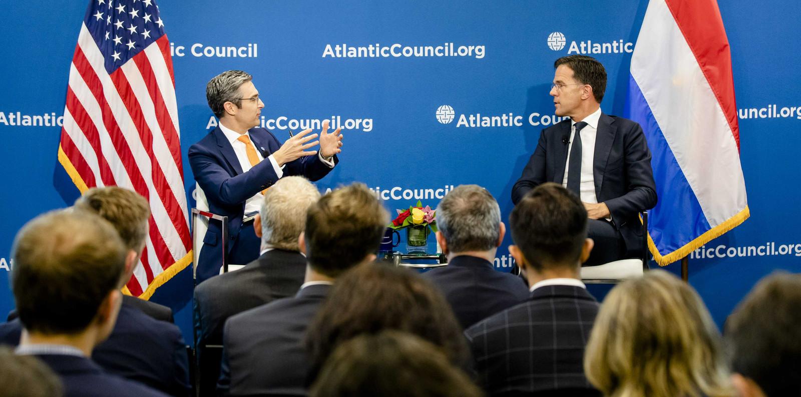 Minister-president Mark Rutte ontmoet leden van de Atlantic Council. De bijeenkomst is onderdeel van een werkbezoek aan Boston en Washington DC.