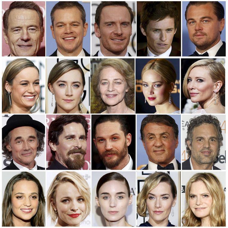 De genomineerden voor een Oscar dit jaar: allemaal blank. Beeld Reuters