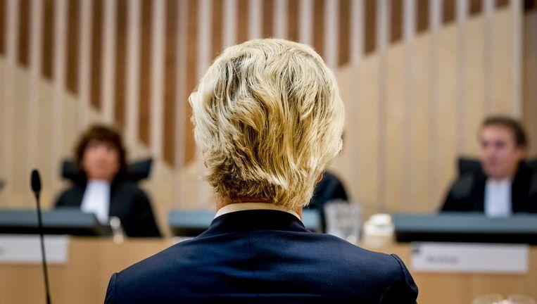 Geert Wilders in september in het Justitieel Complex Schiphol voor het vervolg van de strafzaak tegen hem. Beeld anp