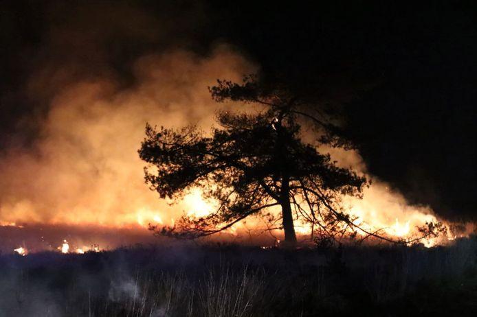Één van de natuurbranden die vannacht rond Apeldoorn woedden.