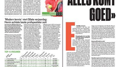 'Modern tennis' viert 50ste verjaardag: Henin achtste beste profspeelster ooit