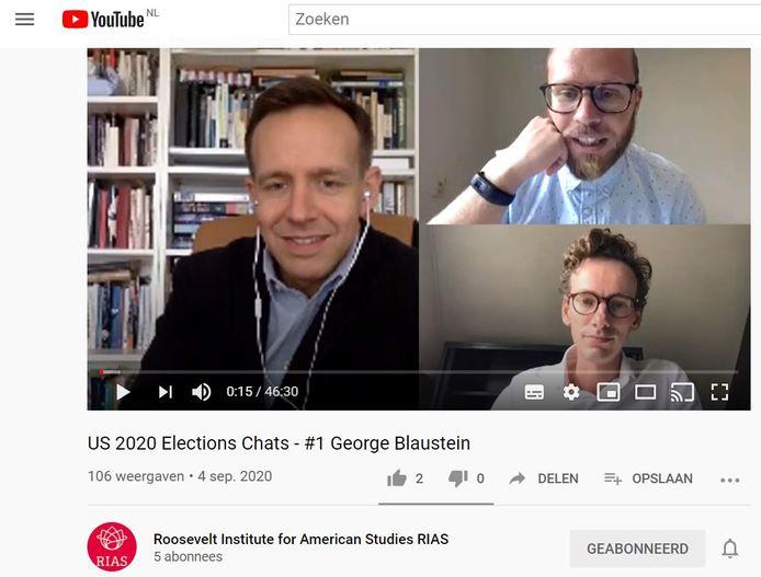 Het Roosevelt Institute for American Studies (RIAS) in Middelburg brengt via Youtube negen digitale gesprekken over de Amerikaanse presidentsverkiezingen van 2020. In aflevering 1  wordt George Blaustein (links) van de Universiteit van Amsterdam geïnterviewd door Dario Fazzi (rechtsboven) en Cees Heere van het RIAS.