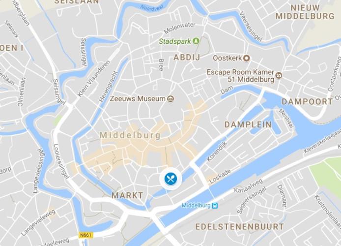De locatie van het restaurant in Middelburg.