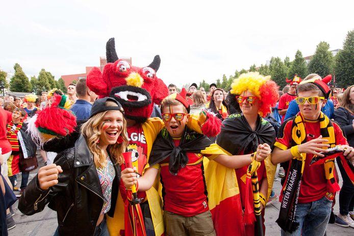 Op 't Zand in Brugge kunnen alle supporters weer terecht om de Rode Duivels te steunen.