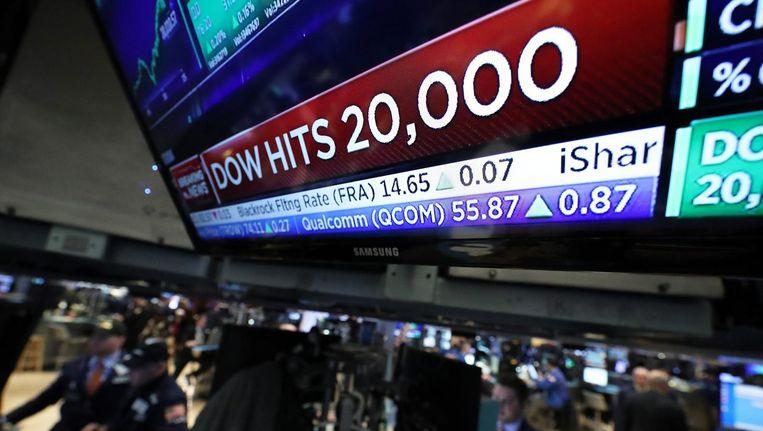 Dow Jones bereikt voor het eerst 20.000 punten Beeld epa