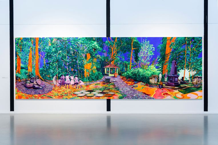 Zico Albaiquni gebruikt een hallucinerend kleurenpalet.  Beeld Eva Broekema