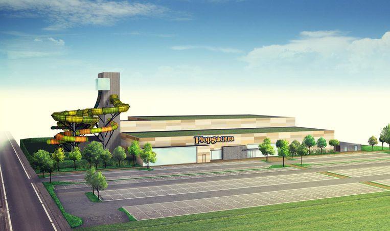 Een toekomstbeeld van de zwemparksite.