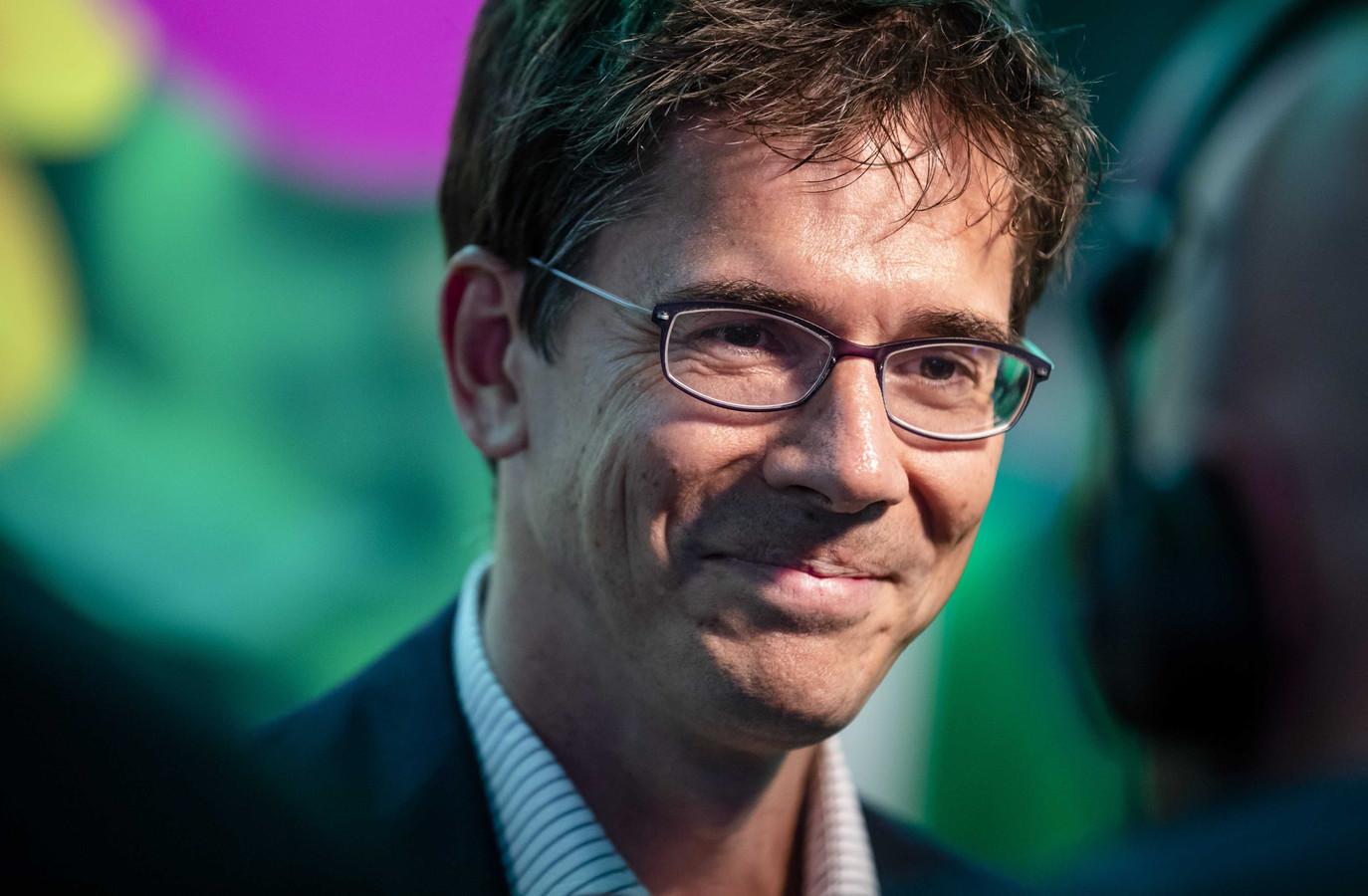GroenLinks-Europarlementariër Bas Eickhout geeft een reactie in het Europees Parlement tijdens de uitslagenavond