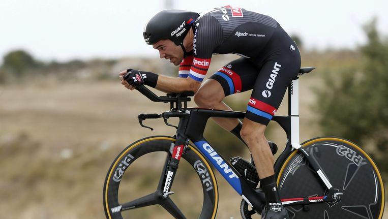 Tom Dumoulin tijdens de tijdrit van de 17e etappe van de Vuelta a España. Beeld epa