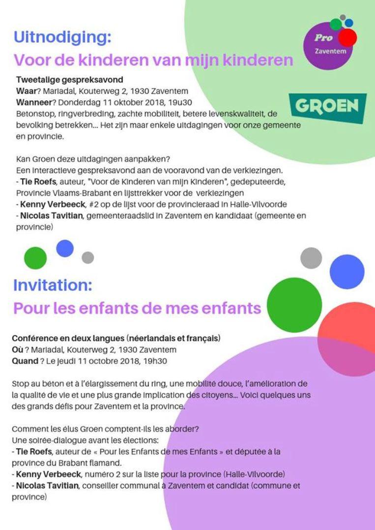 Met deze tweetalige uitnodiging wil Groen ook Franstaligen naar de gespreksavond lokken.