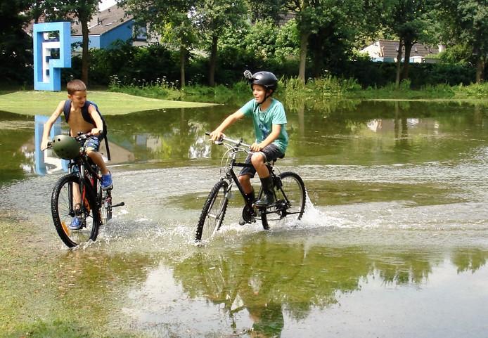 Vakantie in eigen land, na regen komt zonneschijn op een ondergelopen grasveld.