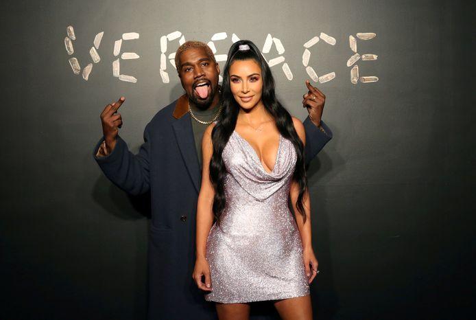Kanye West samen met Kim Kardashian in 2018.