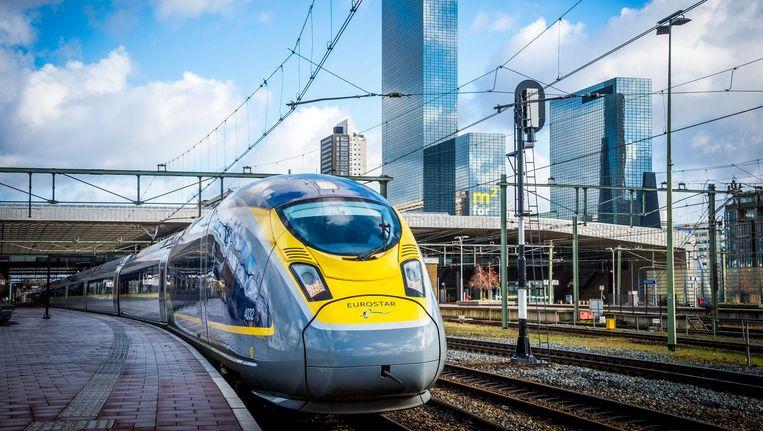 De Eurostar tijdens een testrit op de treinverbinding tussen Amsterdam en Londen. Beeld anp