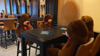 Grote knuffelberen helpen afstand bewaren in restaurant Petrouska