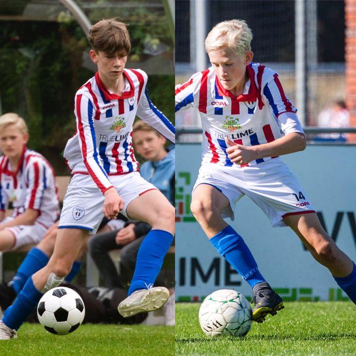 Dion Wolswijk (linkerfoto) en Auke Hellemons (rechterfoto) in actie voor JEKA JO15-1.