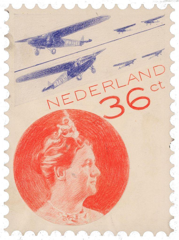 Piet Zwart maakte in 1931 met kleurpotlood deze schets voor een luchtpostzegel van 36 cent. Het ontwerp was door de uiteindelijke toepassing van foto's grensverleggend. Beeld