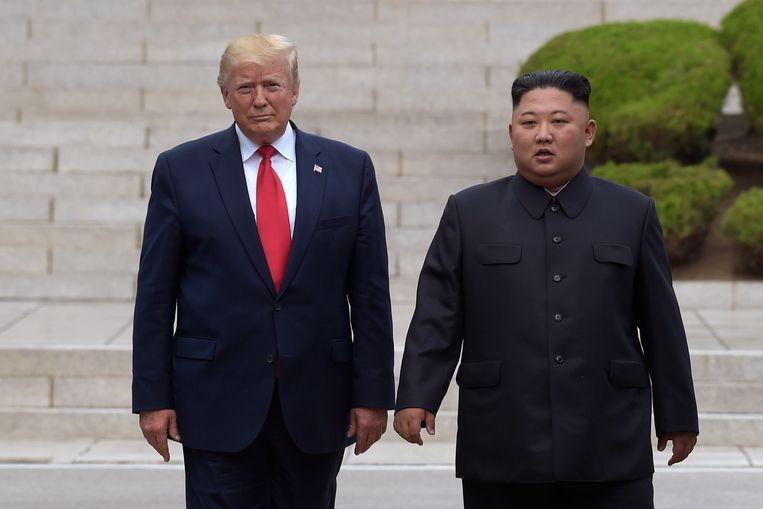 Donald Trump en Kimg Jong-un ontmoetten elkaar begin juli in de gedemilitariseerde grenszone tussen Noord- en Zuid-Korea.