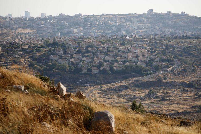 Algemeen beeld van Ofra, een Israëlische nederzetting op de bezette Westelijke Jordaanoever.
