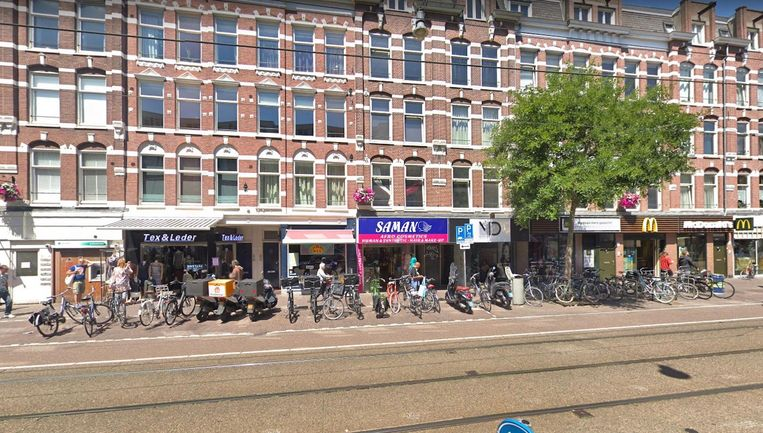 Fietsen zorgen al jaren voor overlast in de Kinkerstraat Beeld Google Streetview